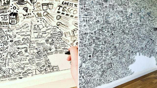 U karanteni svaki dan crtala po zidu i bilježila svaki događaj