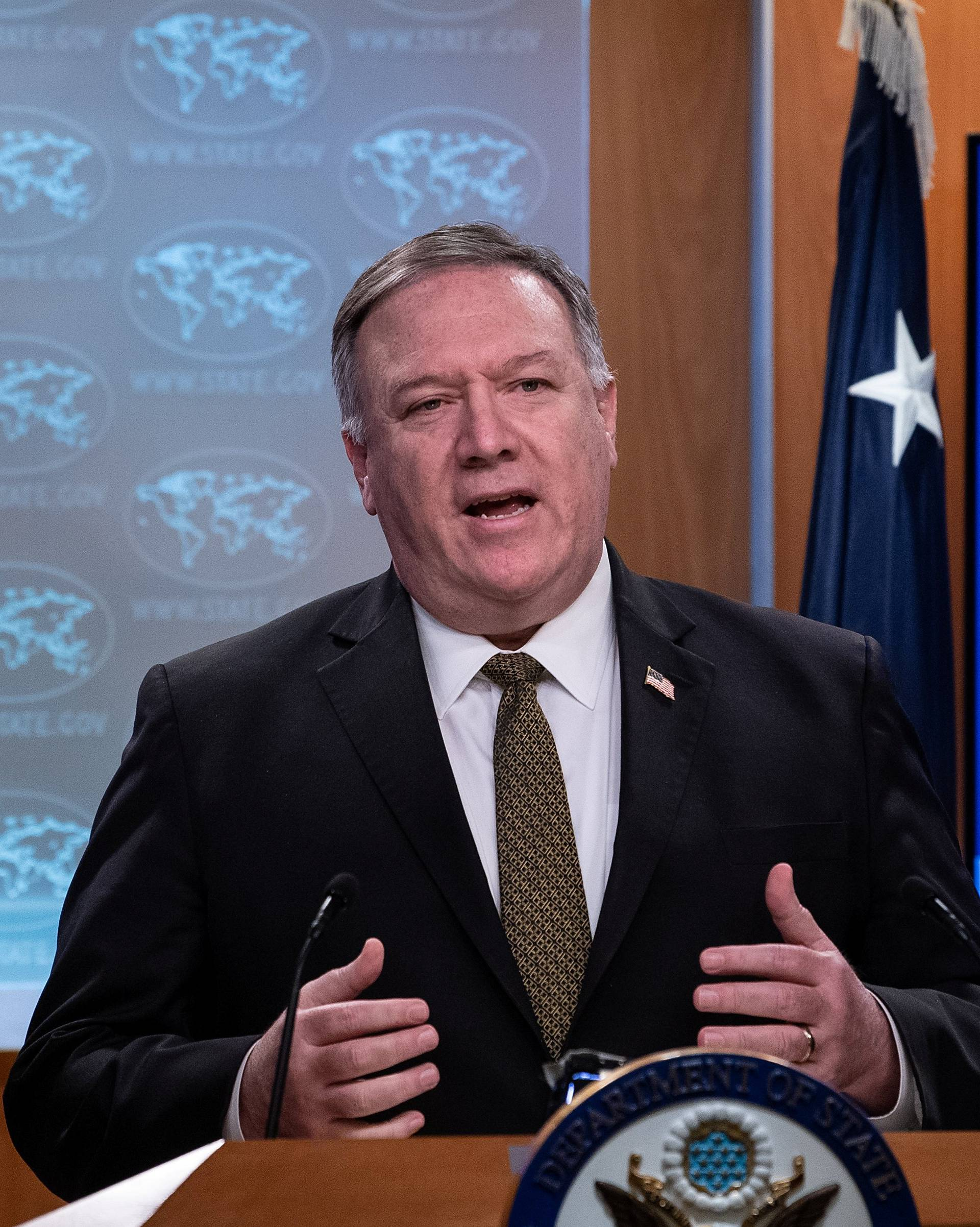 U.S. Secretary of State Mike Pompeo speaks at a press briefing at the State Department in Washington