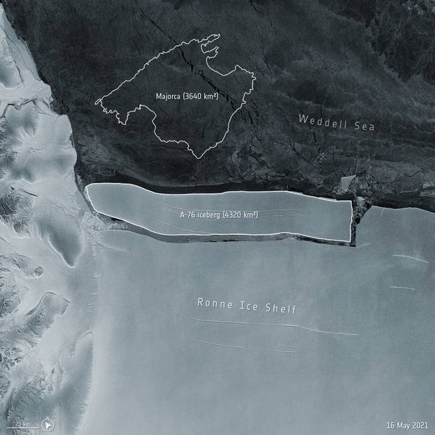 Handout photo of the largest iceberg currently afloat in the world