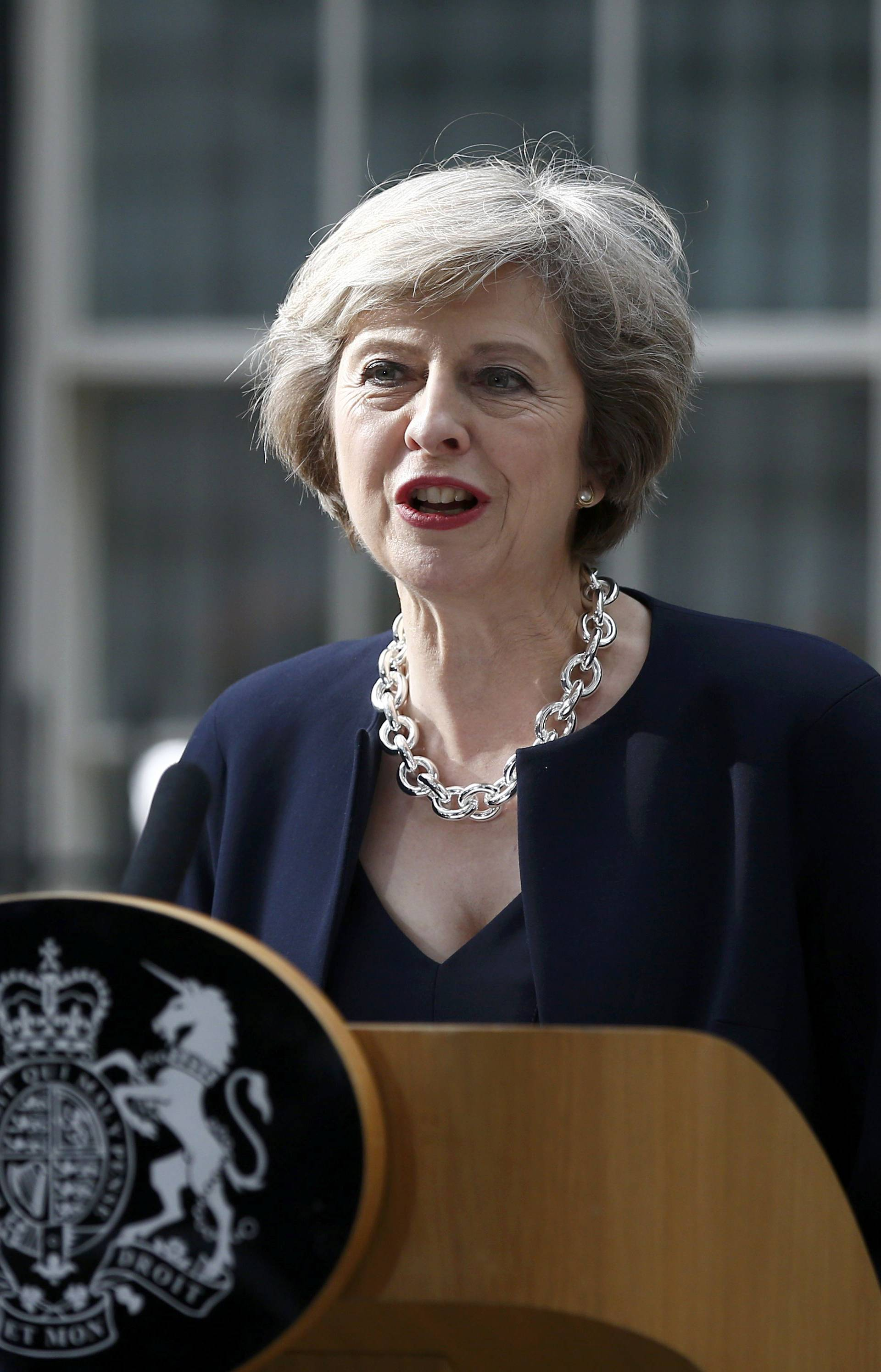 Britain's Prime Minister, Theresa May, speaks to the media outside number 10 Downing Street, in central London