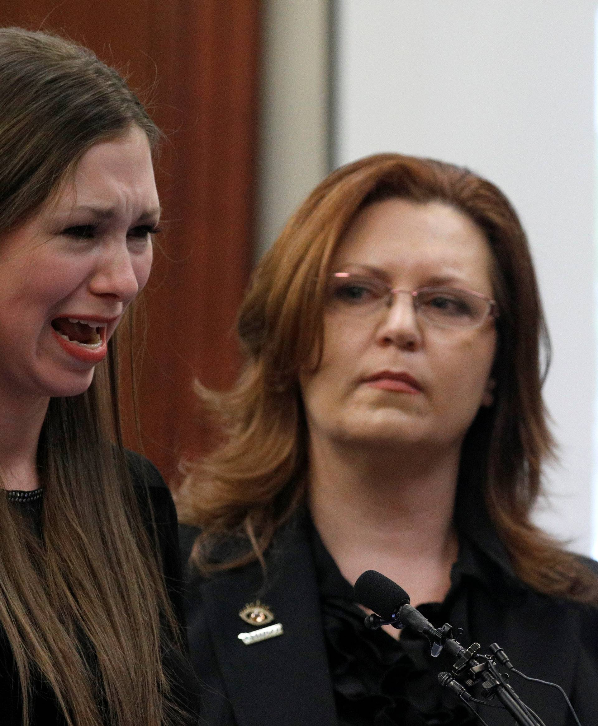 Victim Jessica Smith speaks at the sentencing hearing for Larry Nassar, a former team USA Gymnastics doctor who pleaded guilty in November 2017 to sexual assault charges, in Lansing
