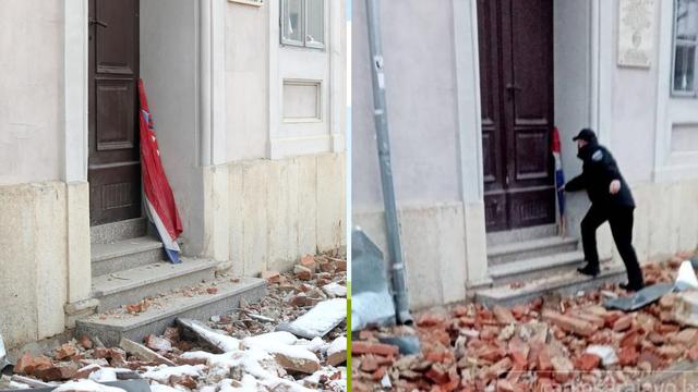 Zastava koju je policajac Samir iz Sarajeva izvukao iz blata već danima stoji uz vrata škole...