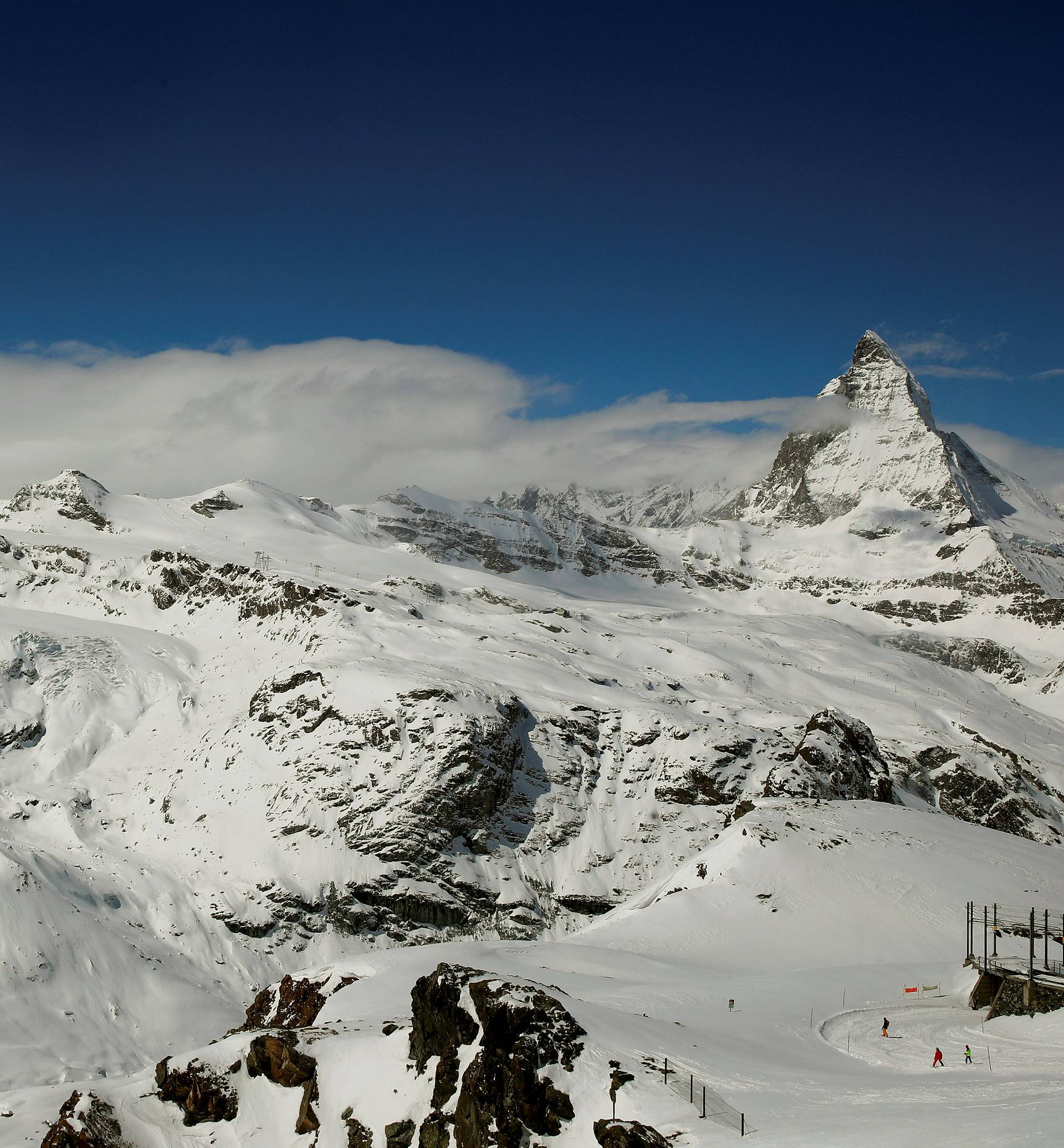 General view shows mount Matterhorn and mount Klein Matterhorn near Zermatt