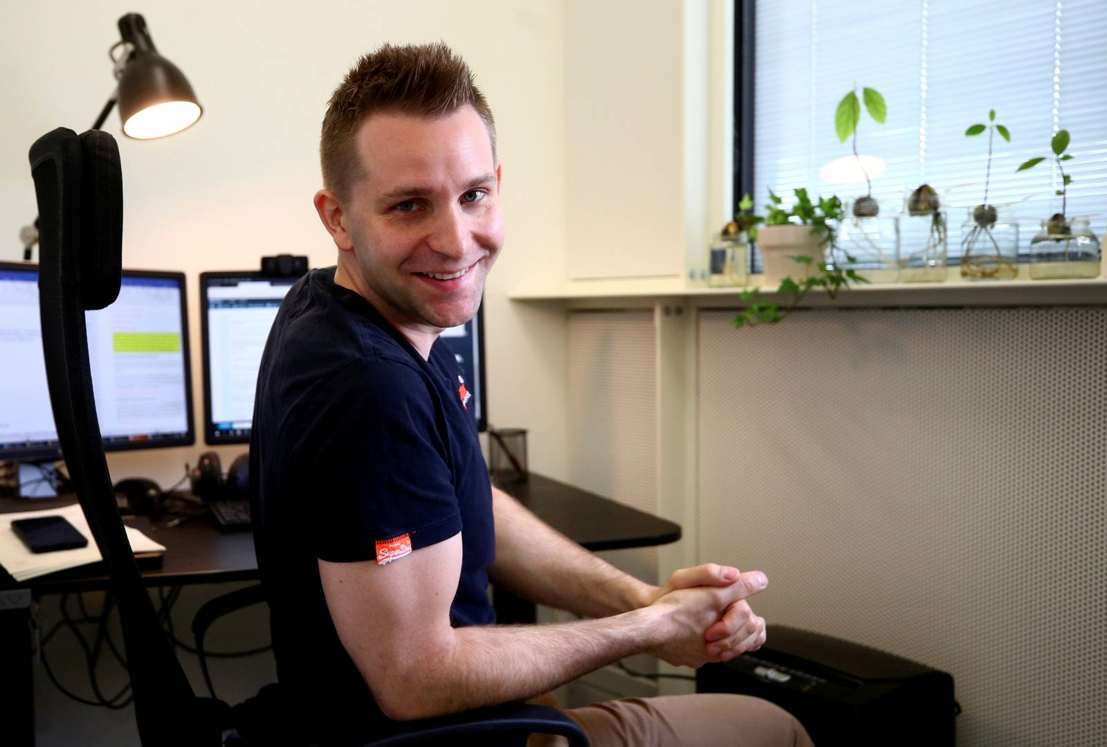 Max Schrems sits in his office ahead of a Reuters interview in Vienna