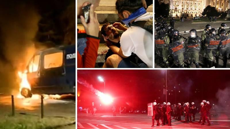 Policija na konjima rastjerala prosvjednike, bacali suzavac, gorjelo više policijskih vozila