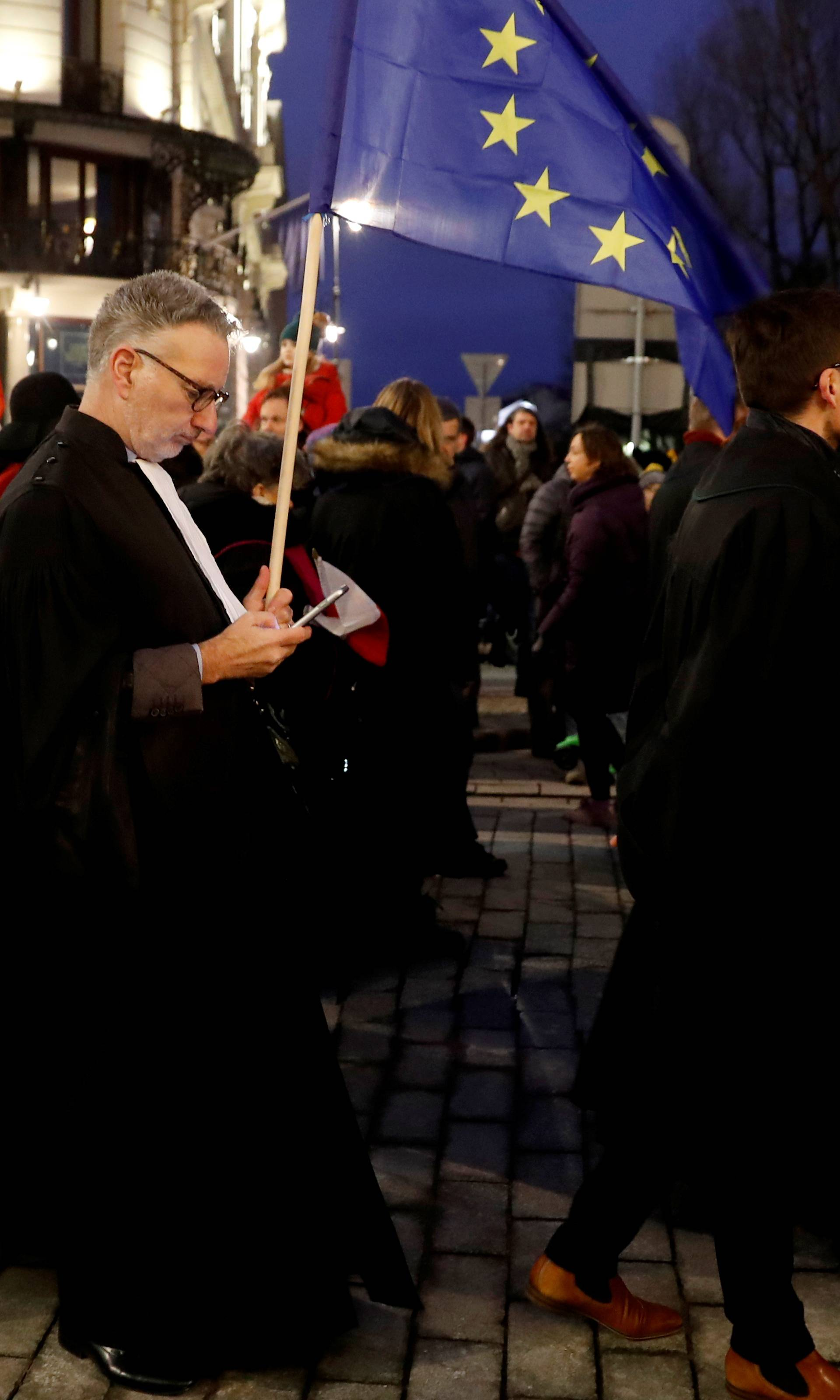 People protest against judiciary reform in Warsaw