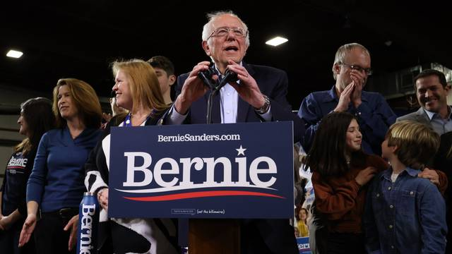 Democratic U.S. presidential candidate Senator Bernie Sanders arrives at his Super Tuesday rally in Essex Junction