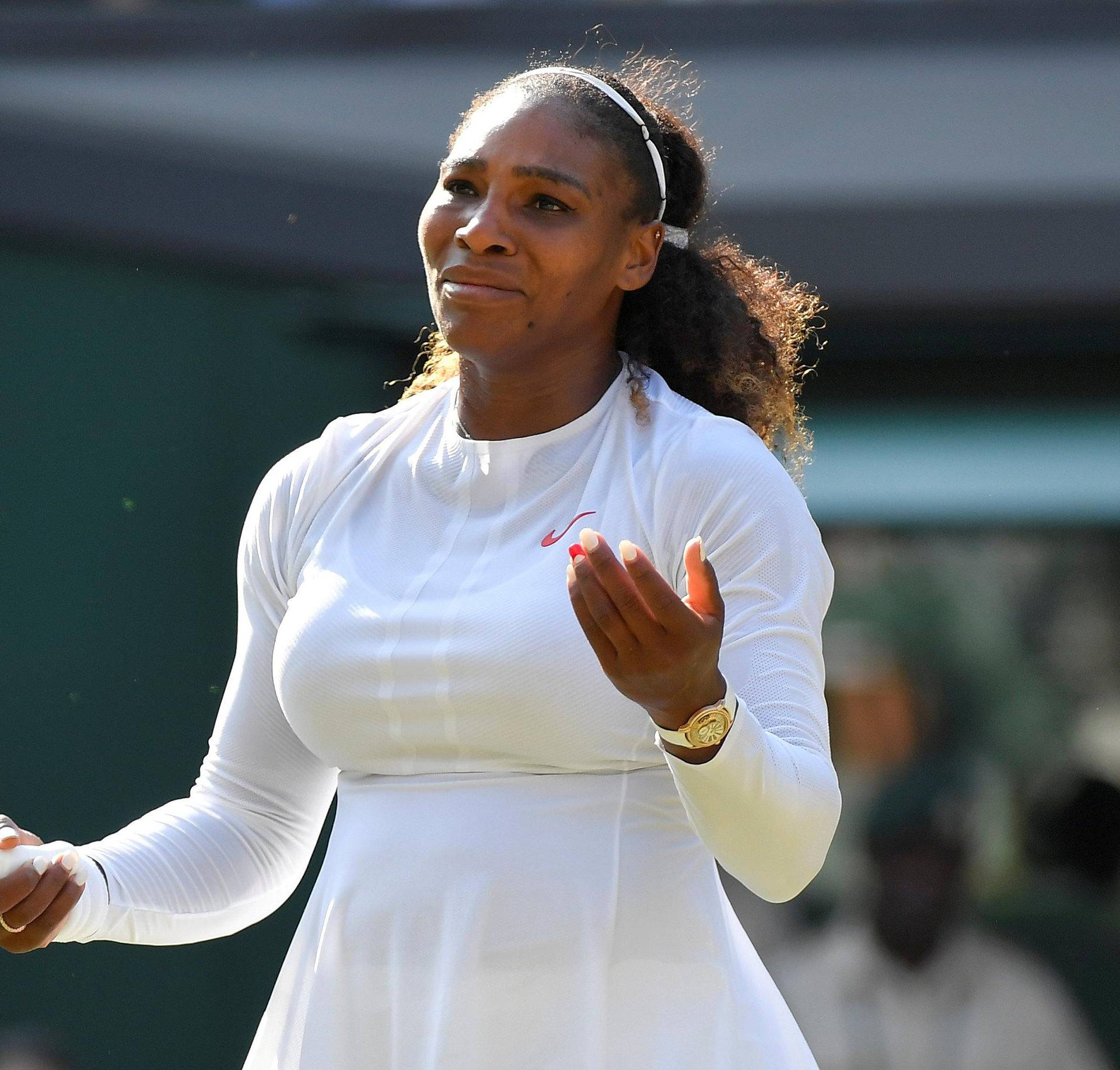 FILE PHOTO: Serena Williams in action at Wimbledon, London, Britain - July 14, 2018