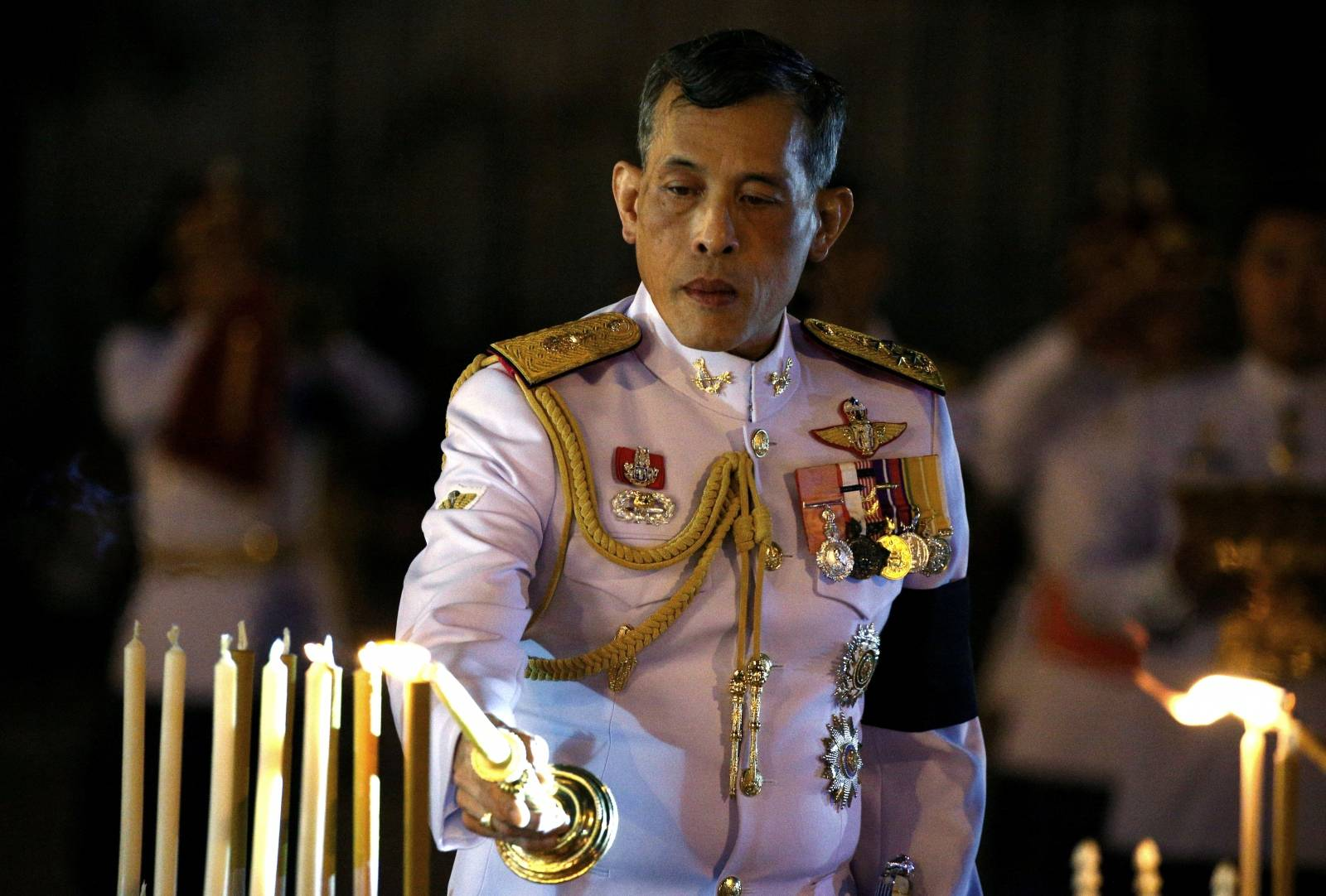 FILE PHOTO: Thailand's Crown Prince Maha Vajiralongkorn attends an event commemorating the death of King Chulalongkorn, known as King Rama V, as he joins people during the mourning of his father, the late King Bhumibol Adulyadej