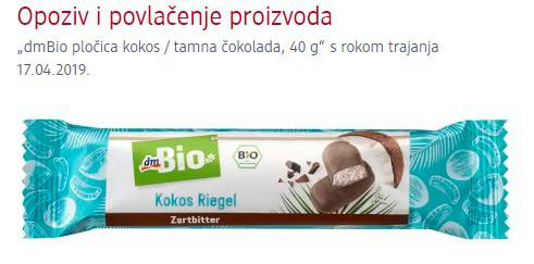 Zbog komadića žice povlači se čokoladica dmBio s kokosom