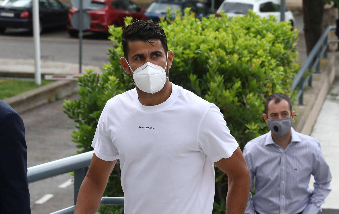 Atletico Madrid's Diego Costa arrives at a court to attend a trial for tax fraud