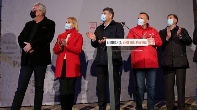 Leaders of PSD react to the first exit polls of Romania's legislative election