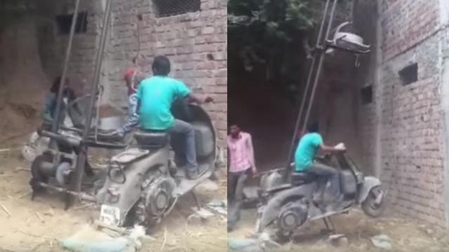 Snalažljivi bauštelci: Kran su napravili od prastarog motora