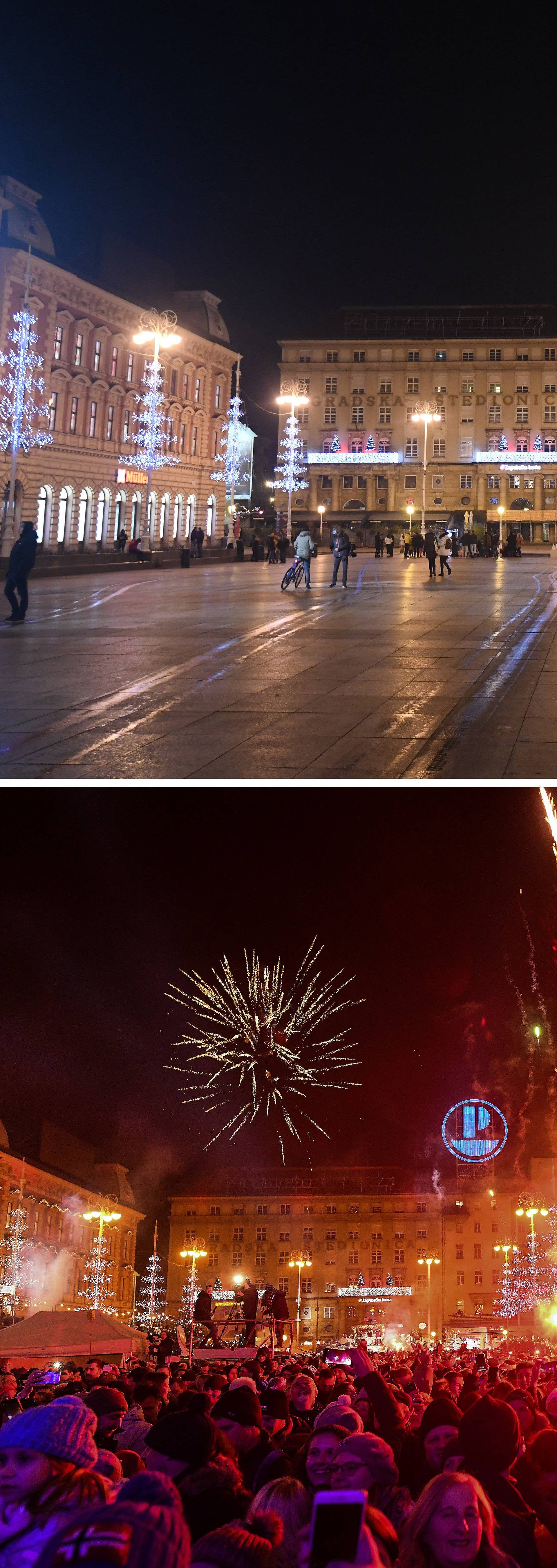 Kombo fotografije dočeka Nove 2020. i 2021. godine na glavnom Trgu