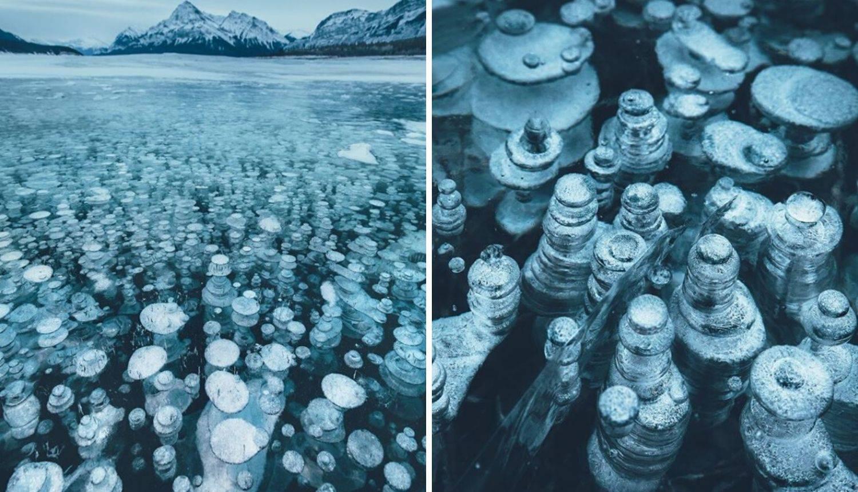 Snimio je mjehuriće metana koji su okovani ledom u jezeru