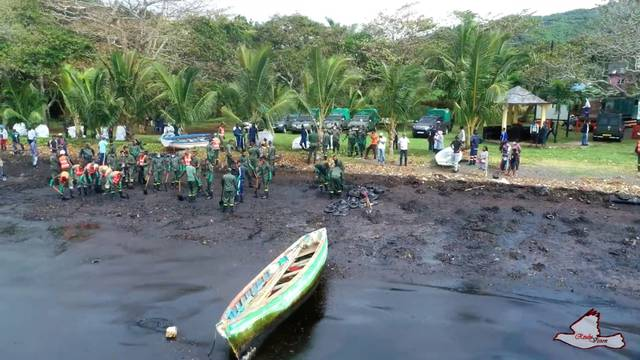 Oil spill after the bulk carrier ship MV Wakashio ran aground on a reef, at Riviere des Creoles, Mauritius