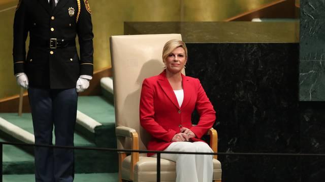 Croatia's President Kolinda Grabar-Kitarovic waits to address the General Assembly in New York