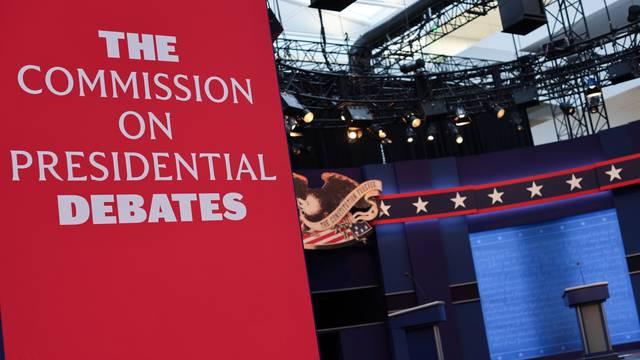 Workers prepare for the first presidential debate between U.S. President Trump and Democratic nominee Biden in Cleveland, Ohio