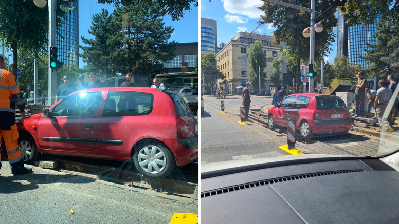Vozi miško..ili ne: Zapeo u tračnicama u centru Zagreba i blokirao promet ulicama