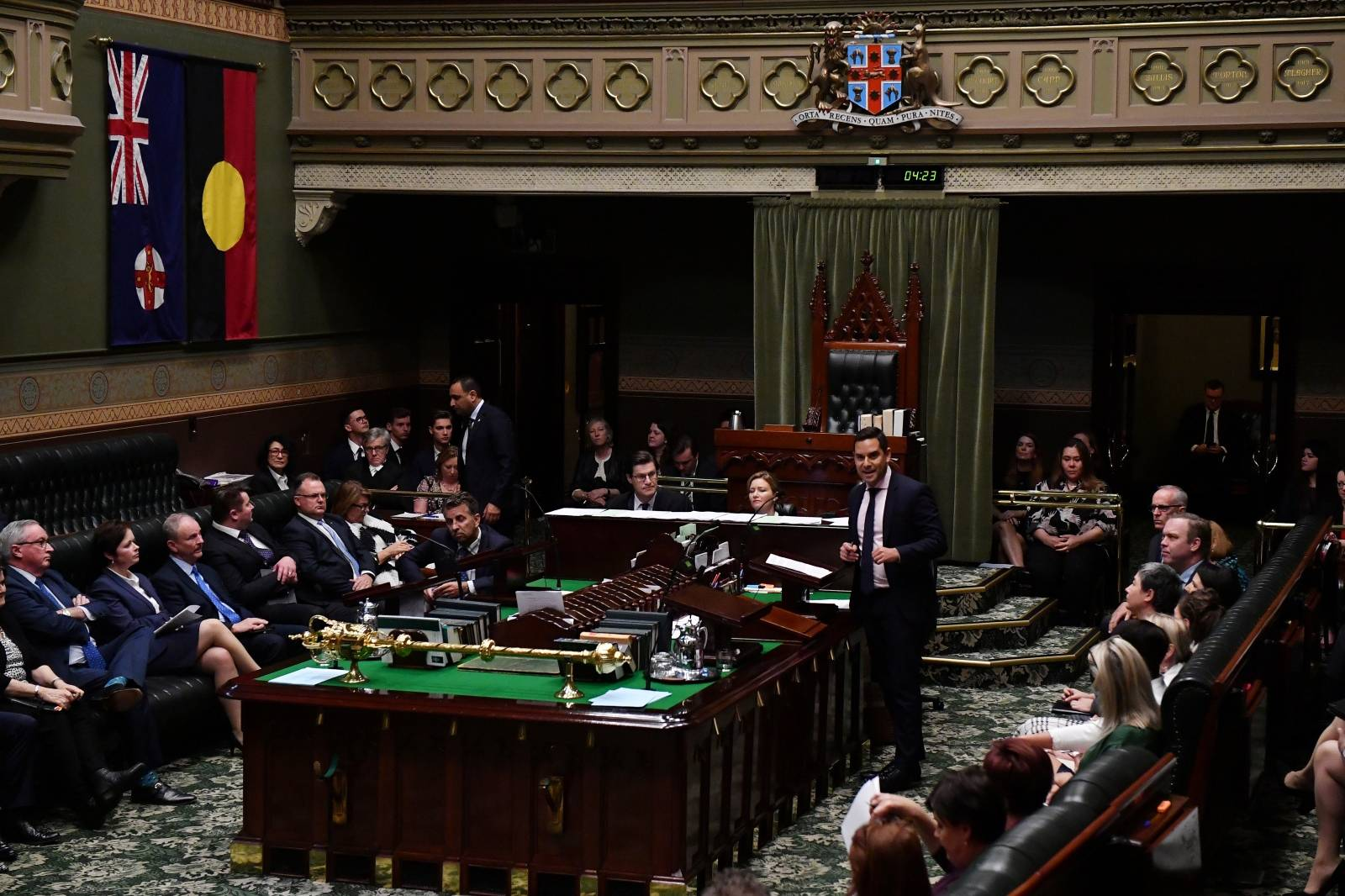 Independent MP Alex Greenwich speaks during the passing of the amended Abortion Law Reform Act, which was passed in the Legislative Assembly in State Parliament, in Sydney
