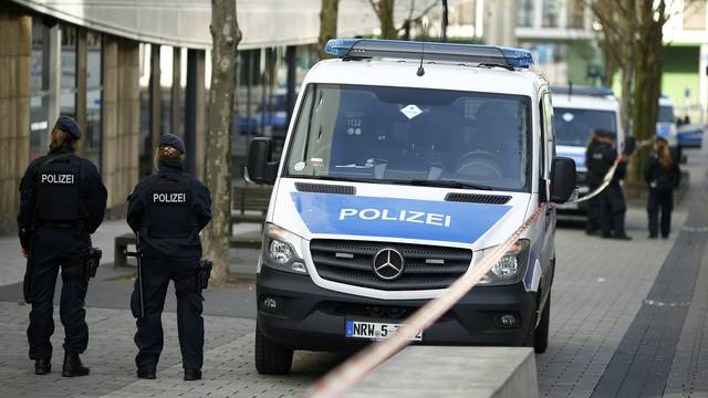 Police secures the area at Limbecker Platz shopping mall in Esse