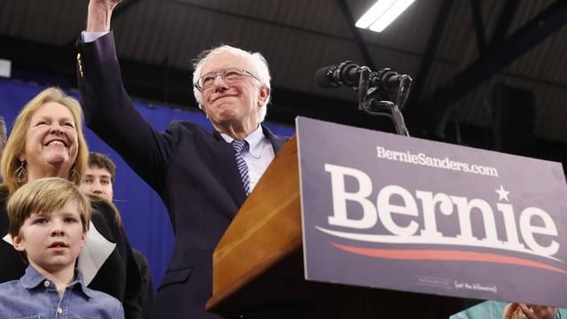 Democratic U.S. presidential candidate Senator Bernie Sanders speaks at his New Hampshire primary night rally in Manchester, N.H., U.S.