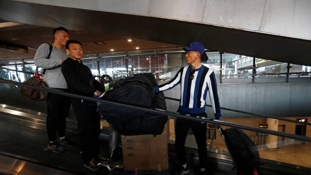 Members of Chinese soccer team Wuhan Zall arrive to Malaga-Costa del Sol airport from Istanbul, in Malaga