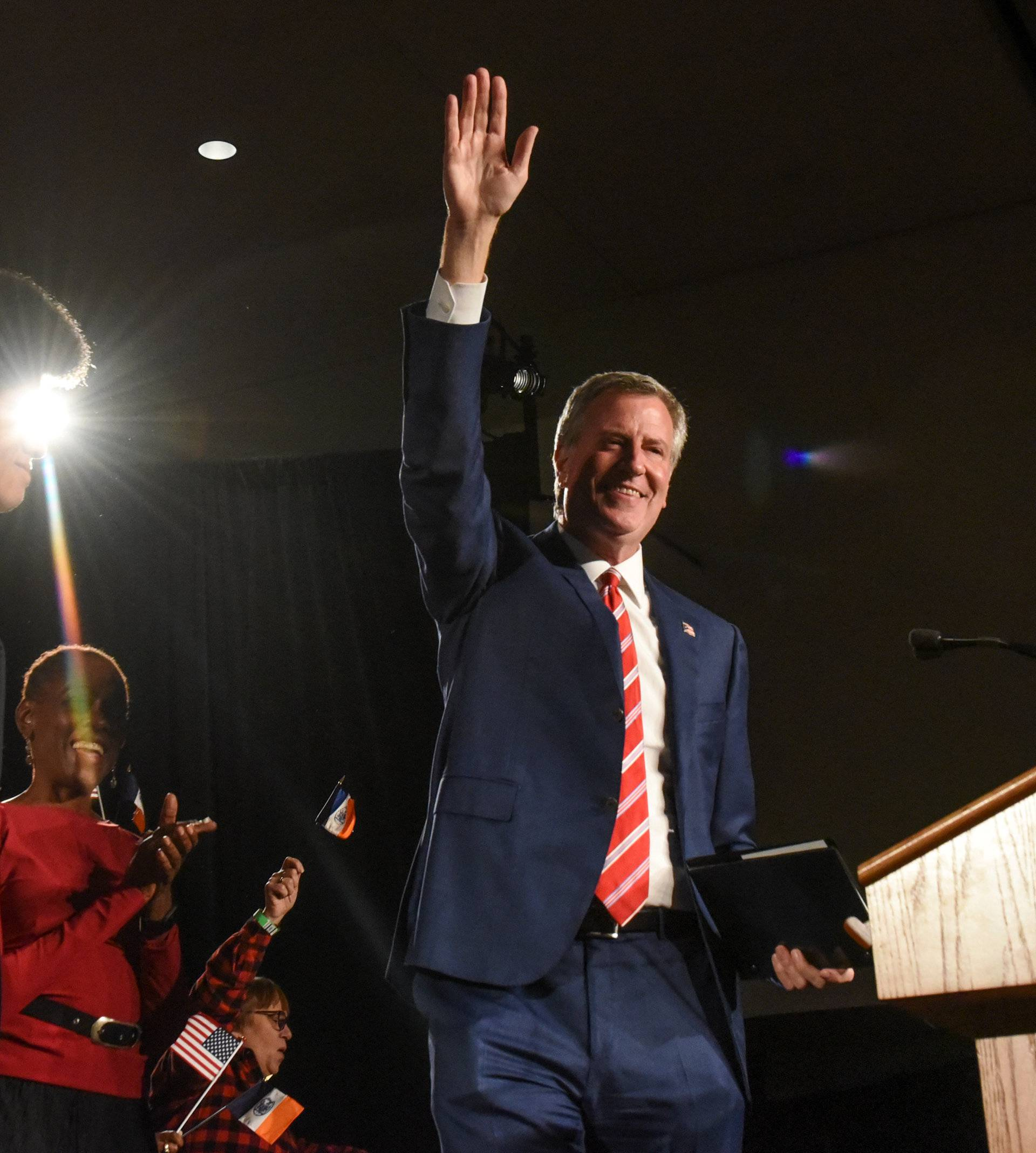 New York Mayor Bill de Blasio is greeted by supporters after his re-election in New York City