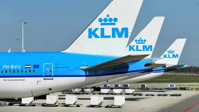 FILE PHOTO: KLM planes parked at Amsterdam's Schiphol Airport, Netherlands