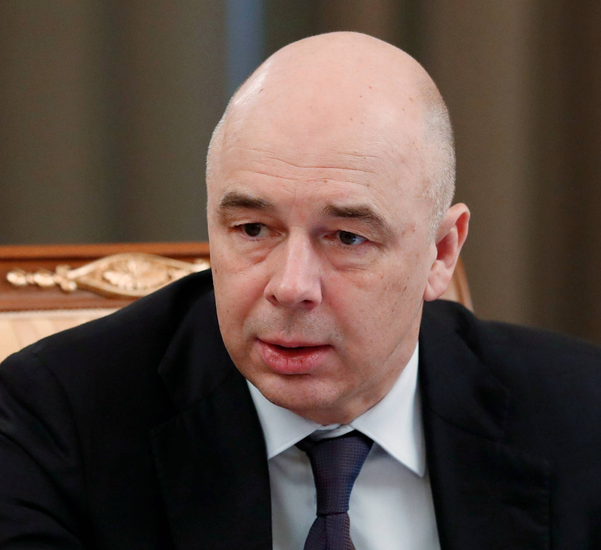Russian Finance Minister Anton Siluanov attends a meeting with members of the government in Moscow