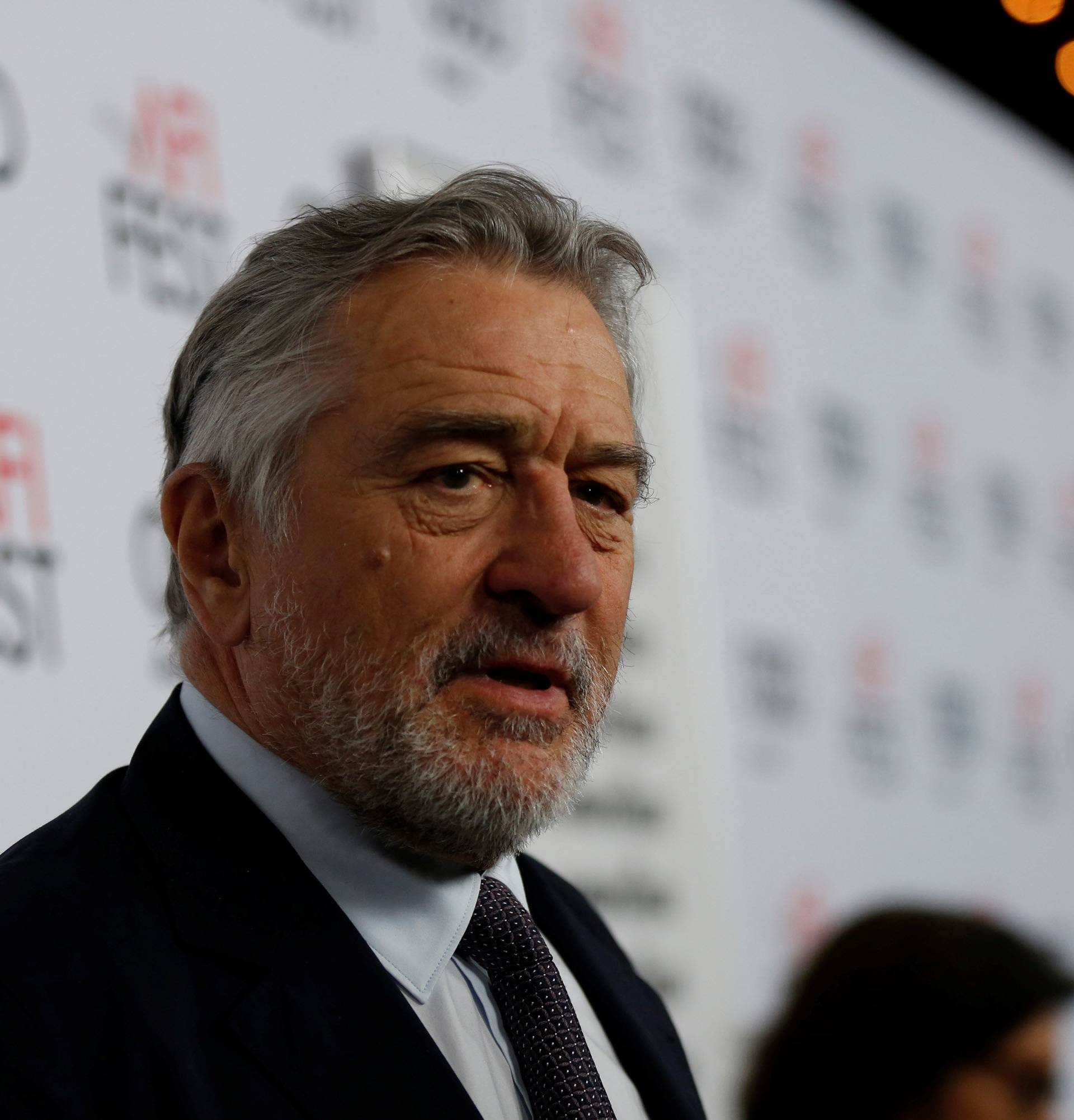 """Cast member Robert De Niro is interviewed at the premiere of """"The Comedian"""" during AFI Fest at the Egyptian Theatre in Los Angeles"""