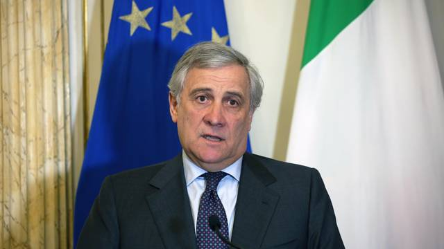 The President of the European Parliament Antonio Tajani on a visit to Palermo received by Nello Musumeci