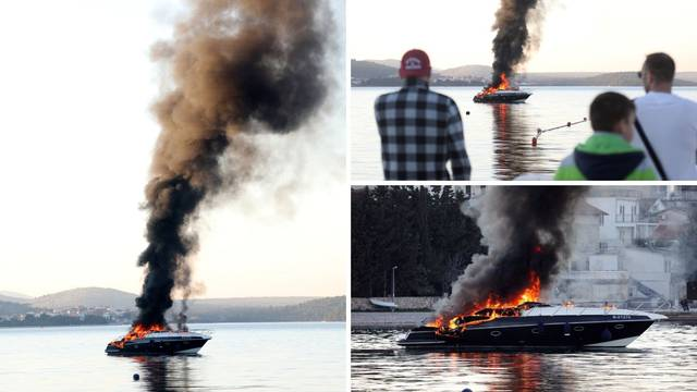 Buktinja u moru kod Šibenika: Zapalila se motorna jahta, gusti crni dim došao je do marine