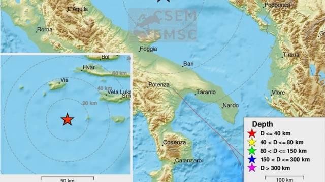 Potres u Jadranskom moru: Kraj Visa zatreslo 3,5 po Richteru