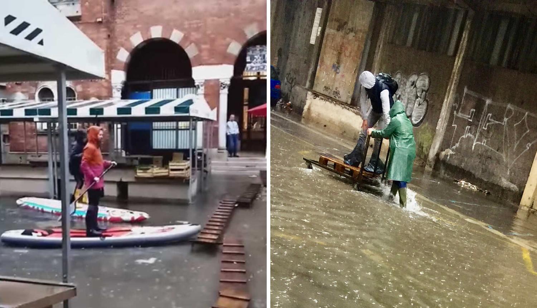 Rijeka u poplavi, ljudi do posla putuju daskom za surfanje