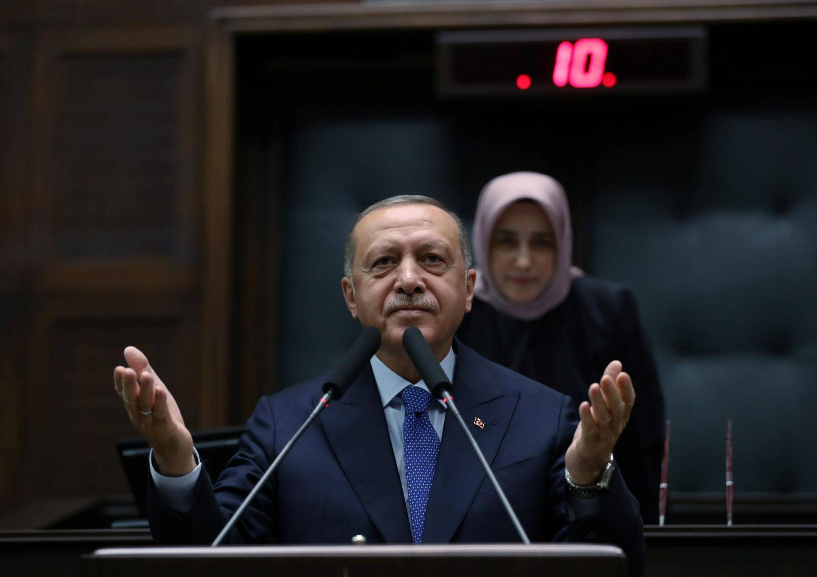 Turkish President Erdogan addresses members of his ruling AK Party in Ankara
