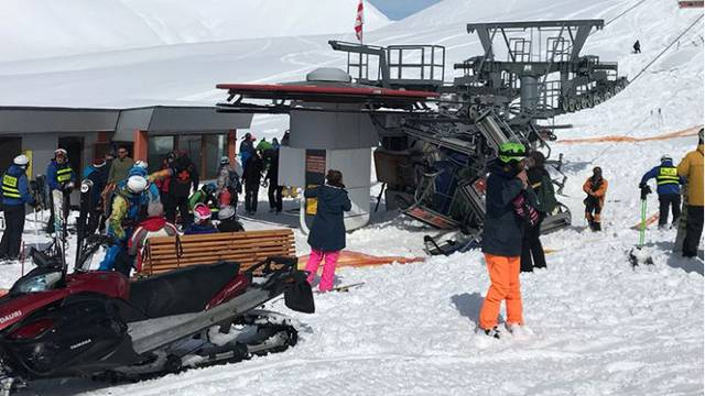 General view aftermath of the ski-lift accident in Gudauri