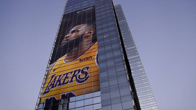 FILE PHOTO: Advertising displays of NBA basketball star LeBron James in downtown Los Angeles