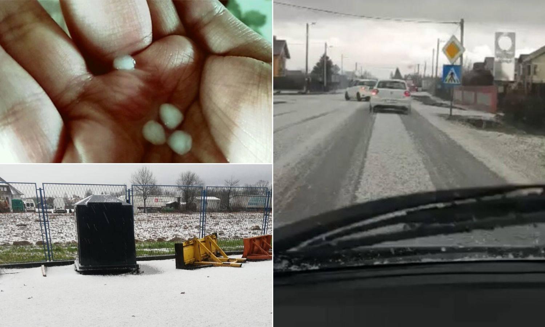 Snimka iz okolice Gorice: Tuča je zabijelila ulice, pao i snijeg!