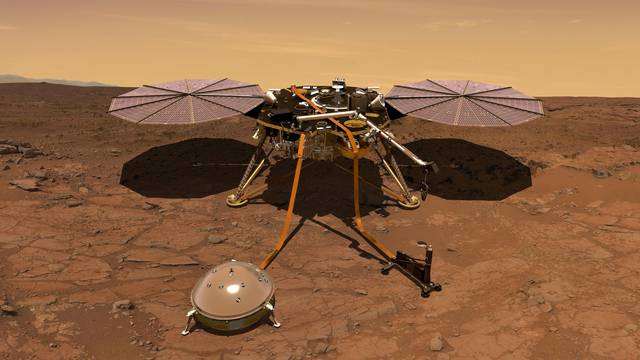 FILE PHOTO: The Mars InSight probe in artist's rendition operating on the surface of Mars due to lift off from Vandenberg Air Force Base