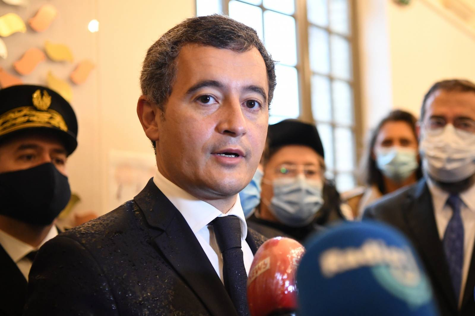 French Interior Minister Gerald Darmanin visits the synagogue of Boulogne-Billancourt