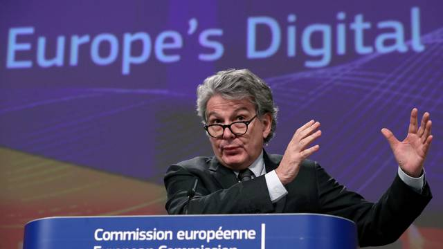 FILE PHOTO: European Commissioner Thierry Breton speaks during the presentation of the European Commission's data/digital strategy