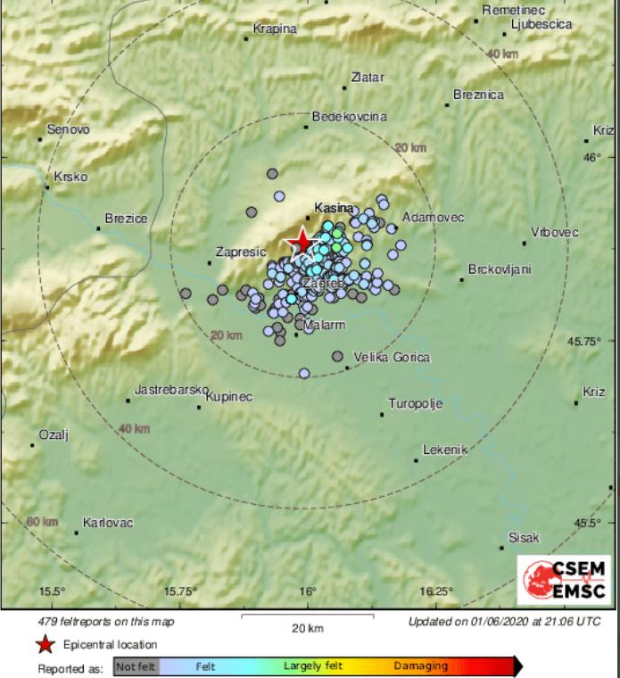 Slabiji potres opet u Zagrebu,  zatreslo je s 1,3 po Richteru: 'Čulo se kao  pucketanje...'