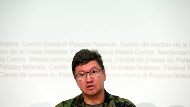 Commander of the Swiss Air Force Lieutenant General Aldo Schellenberg talks to the media during a news conference in Bern