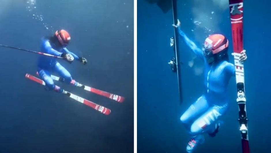 Jeste li ovo ikad vidjeli? Ona u punoj opremi skija pod vodom