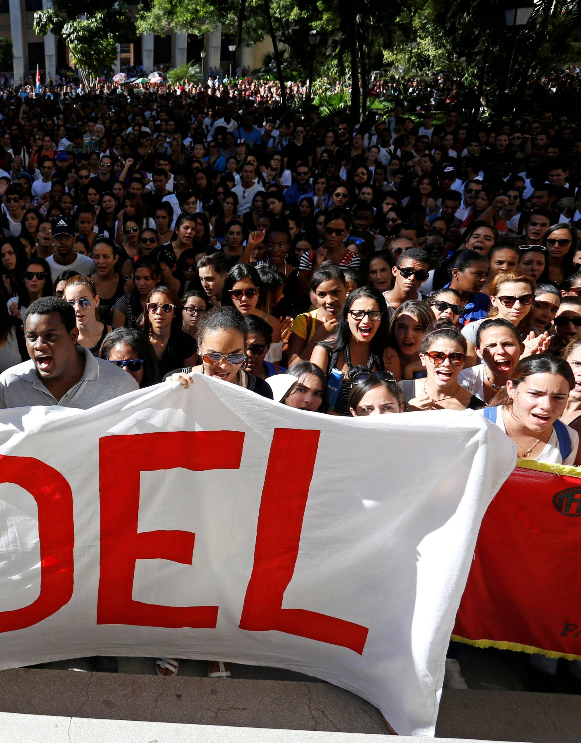 Students of Havana University pay tribute to Cuba's late President Fidel Castro in Havana