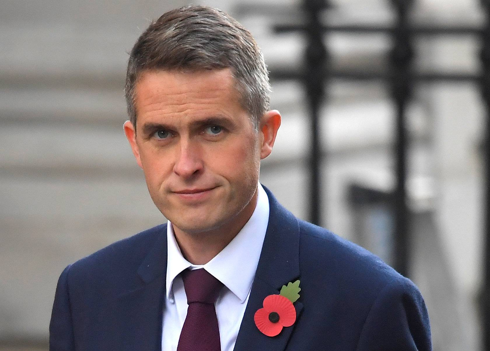 Britain's Secretary of State for Defence Gavin Williamson is seen in Downing Street, London