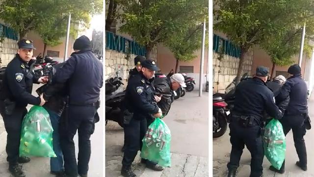 Video: Splitski policajci svladali muškarca koji je skupljao boce