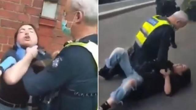 Policajac davio djevojku i sjedio na njoj jer nije nosila masku?!