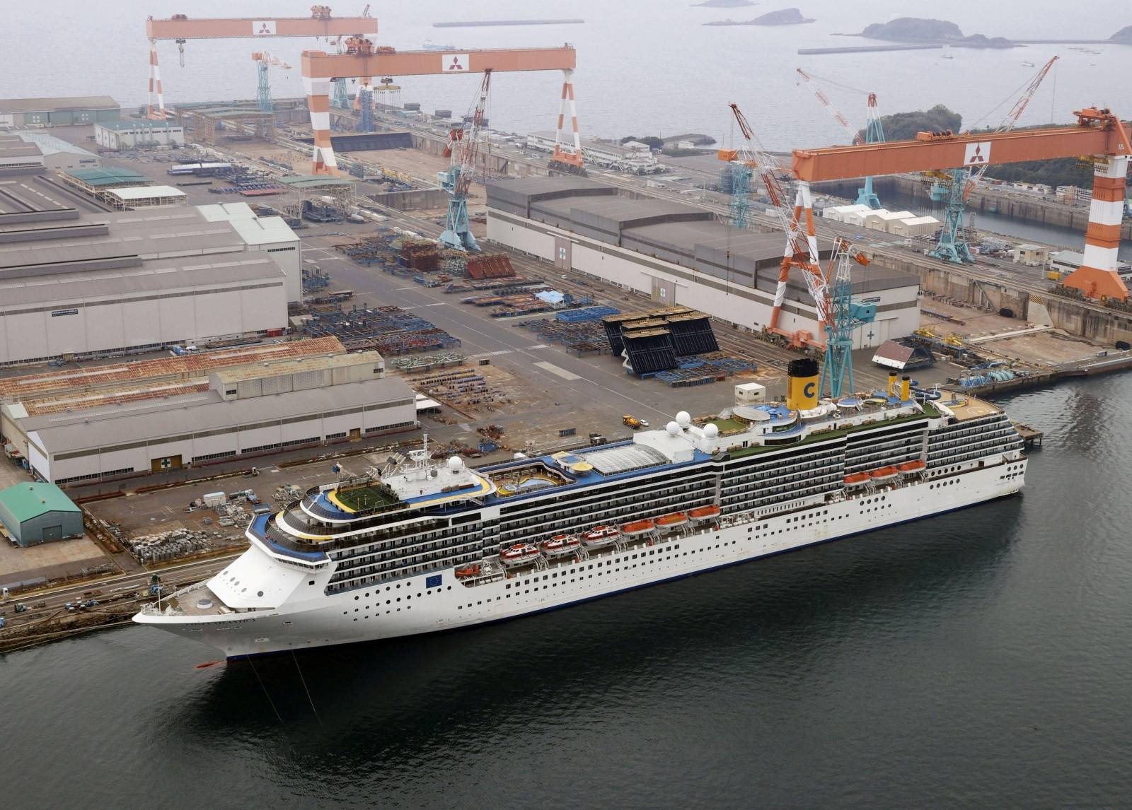 FILE PHOTO: Aerial view shows Italian cruise ship Costa Atlantica in Nagasaki